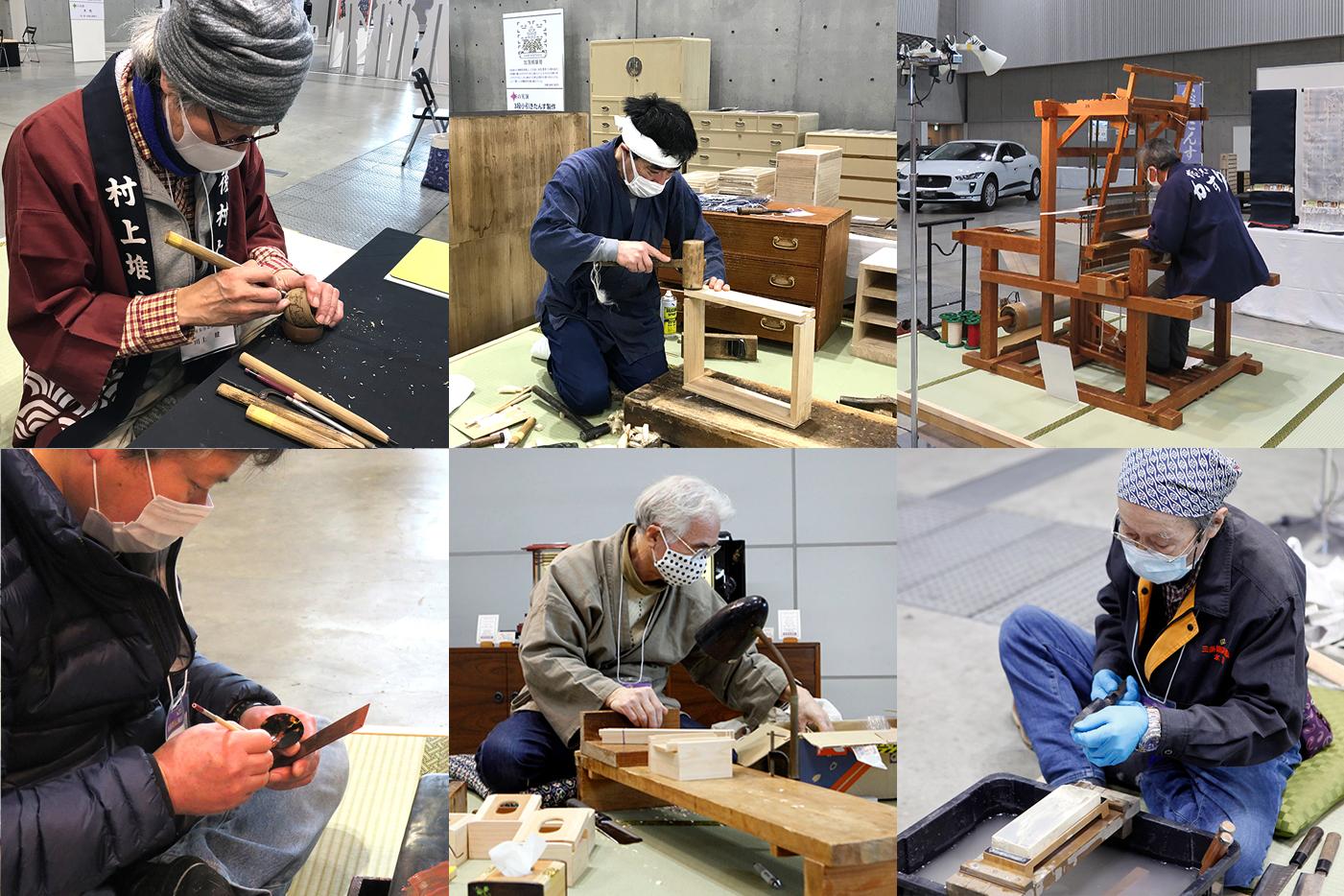 新潟県伝統的工芸品展での実演風景